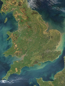 Satellite image of England and Wales